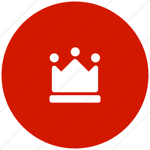 Flat Circle White On Red Foundation Crown Icon