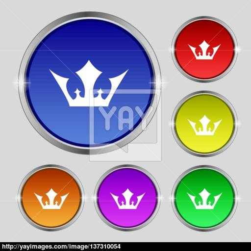 Crown Icon Sign Round Symbol On Bright Colourful Buttons Vector
