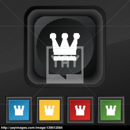 King, Crown Icon Symbol Set Of Five Colorful, Stylish Buttons