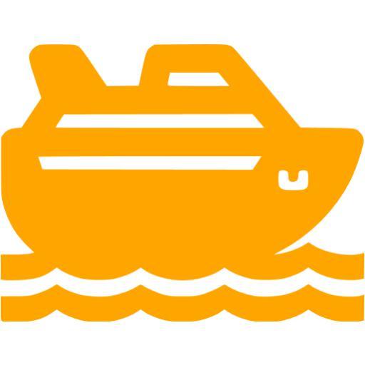 Orange Cruise Ship Icon
