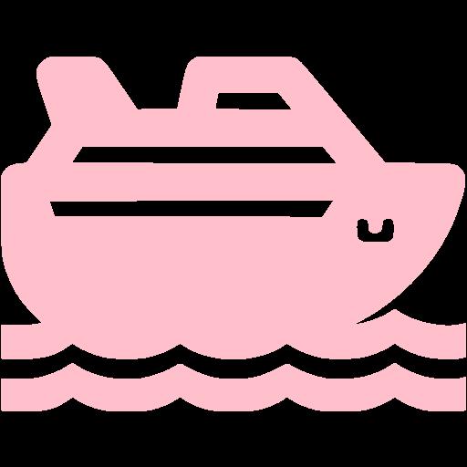 Pink Cruise Ship Icon