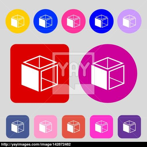 Cube Icon Sign Colored Buttons Flat Design Vector Vector