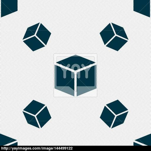 Cube Icon Sign Seamless Pattern With Geometric Texture Vector