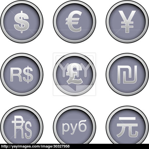 World Currency Icon Set Vector