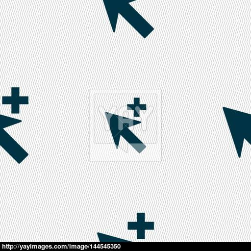 Cursor, Arrow Plus, Add Icon Sign Seamless Abstract Background
