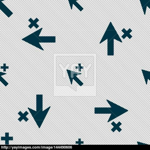 Cursor, Arrow Plus, Add Icon Sign Seamless Pattern With Geometric