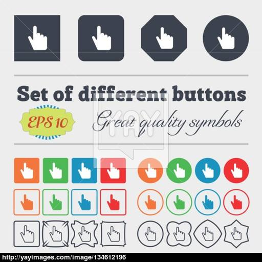Cursor Icon Sign Big Set Of Colorful, Diverse, High Quality