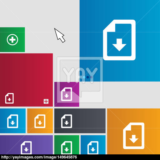 Import, Download Icon Sign Metro Style Buttons Modern