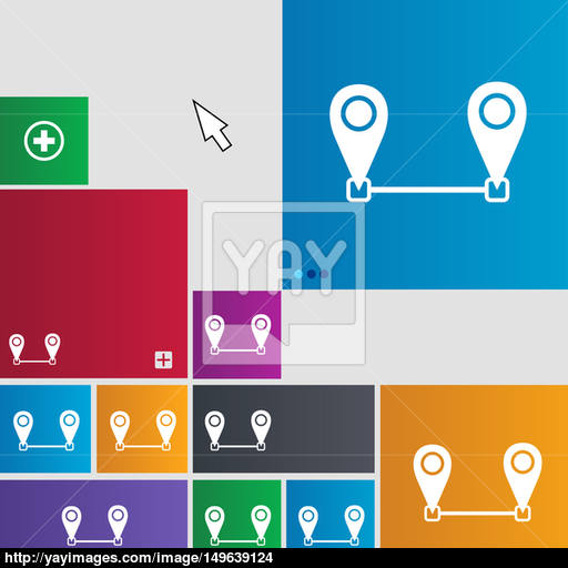 Map Pointer Icon Sign Metro Style Buttons Modern Interface