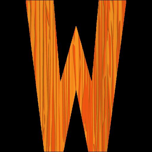 Sketchy Orange Letter W Icon