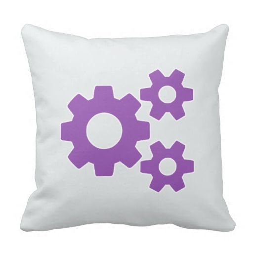 Purple Gray Cogs Icon Throw Pillow Cushion Purple