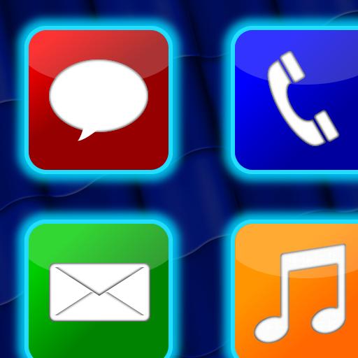 Glowing App Icons Big Blue Clip, Llc