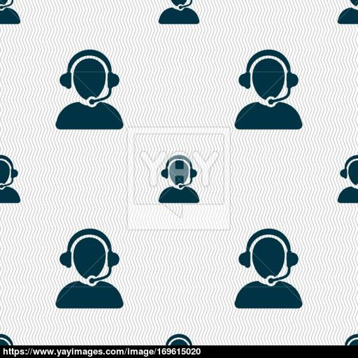 Customer Support Icon Sign Seamless Pattern With Geometric