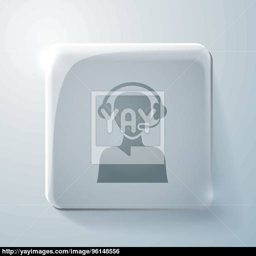 Glass Icon With Highlights, Customer Support Vector