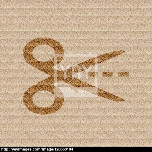 Scissors Cut Dash Dotted Line Icon Symbol Flat Modern Web Design