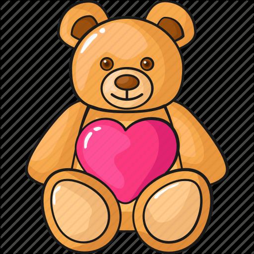 Cute, Doll, Line, Love, Set, Teddy Bear, Template Icon