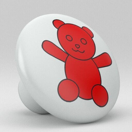 Cute Red Bear Ceramic Knobs Pulls Kitchen Drawer Cabinet Vanity