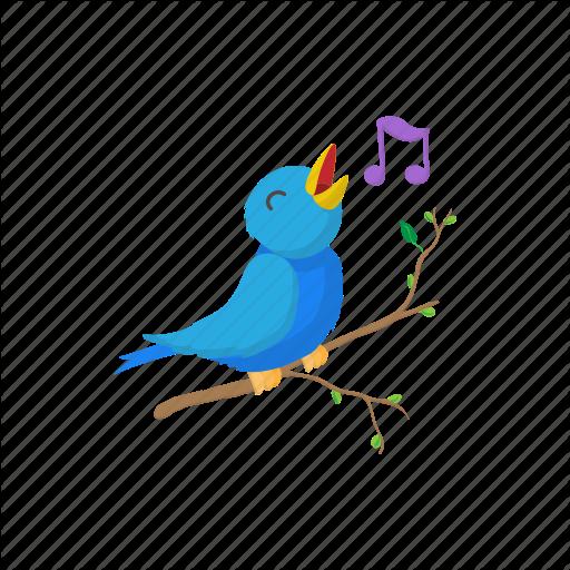 Animal, Bird, Cartoon, Cute, Note, Sign, Singing Icon