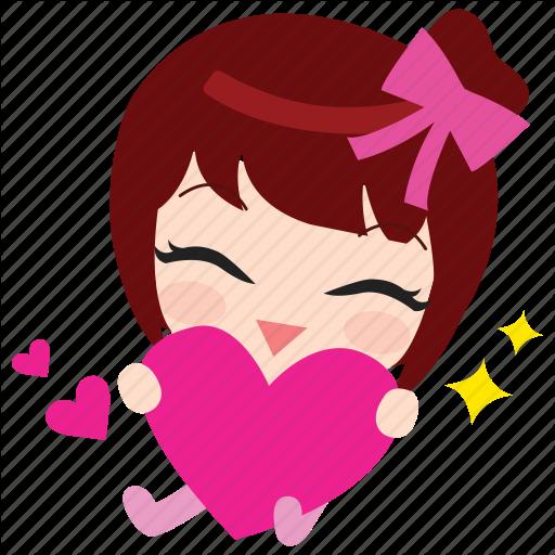 Cute, Emoticon, Girl, Heart, Love, Thankyou Icon