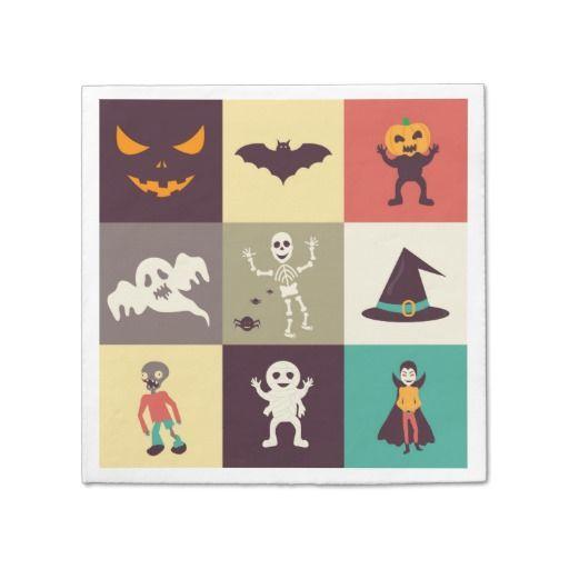 Cute Retro Halloween Party Paper Napkin Character Design