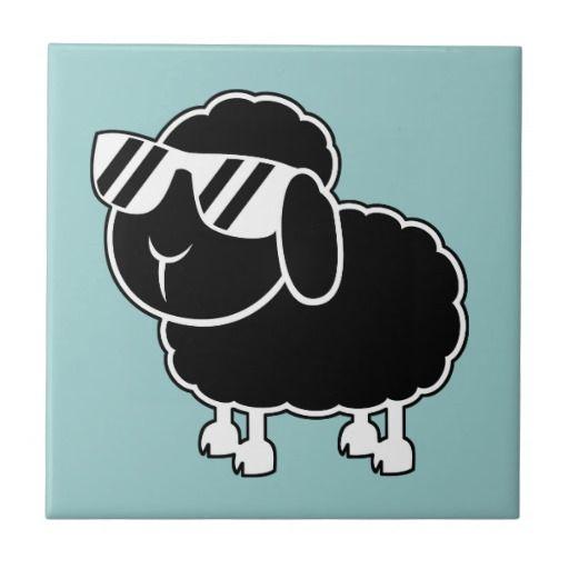 Cute Black Sheep Cartoon Ceramic Tile Nothing But