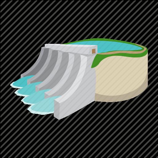 Cartoon, Dam, Electricity, Hydro, Plant, Power, Water Icon