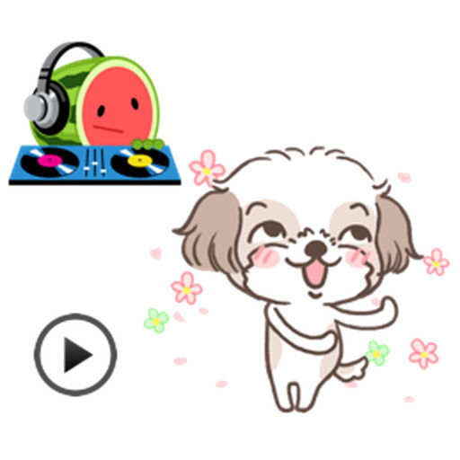 Animated Dancing Dog And Funny Watermelon Stickers