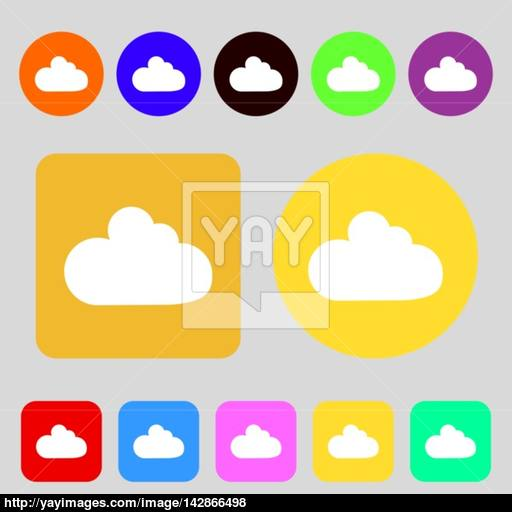 Cloud Sign Icon Data Storage Symbol Colored Buttons Flat