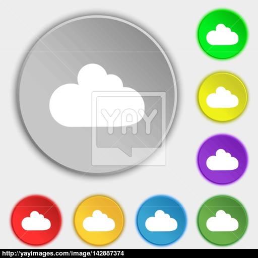 Cloud Sign Icon Data Storage Symbol Symbols On Eight Flat
