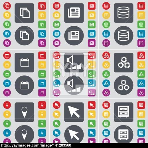 Copy, Newspaper, Database, Calendar, Volume, Gear, Checkpoint