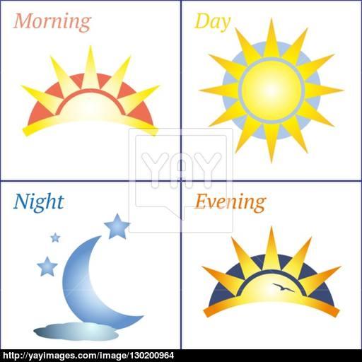 Morning Day Evening Night Icon Set Vector