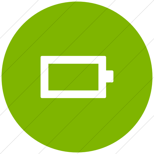 Flat Circle White On Green Foundation Battery Empty Icon
