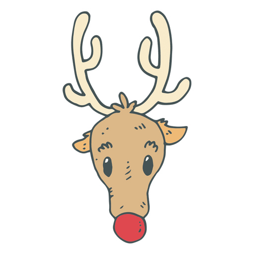 Reindeer Head Hand Drawn Cartoon Icon