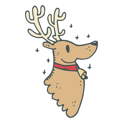 Reindeer Head Profile Hand Drawn Cartoon Icon