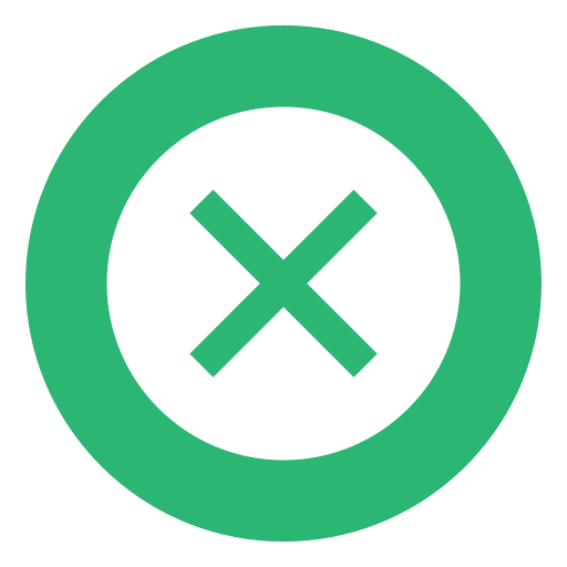 Denied, Crossed, Failure, Times, Failed, Green, Deny Icon