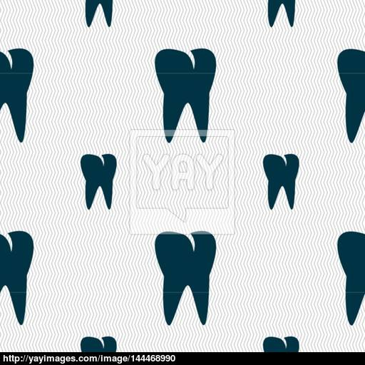 Tooth Icon Seamless Pattern With Geometric Texture Vector Vector
