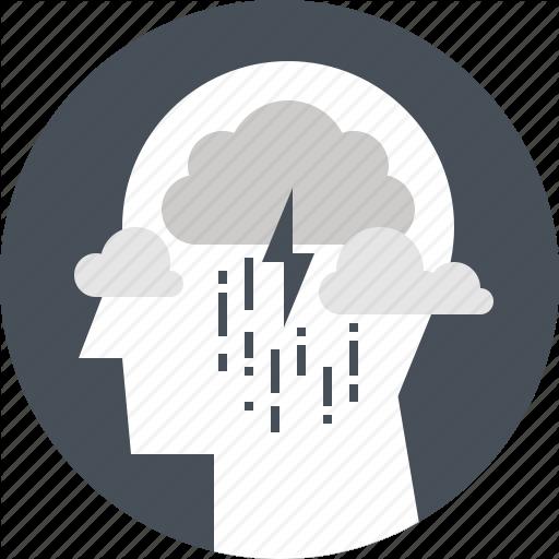 Depression, Head, Human, Mind, Rain, Sadness, Thinking Icon