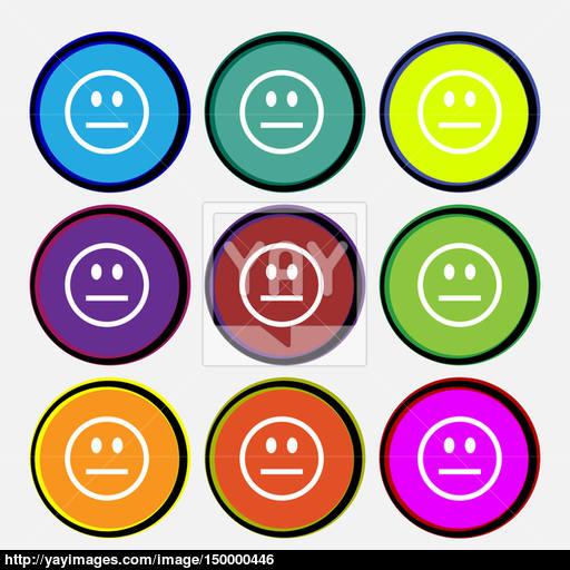 Sad Face, Sadness Depression Icon Sign Nine Multi Colored Round