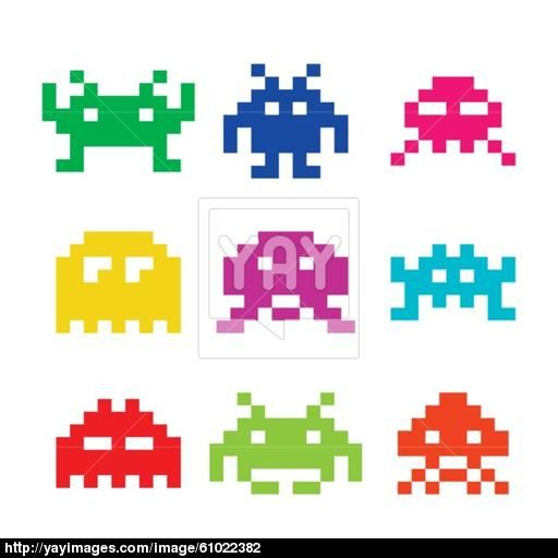 Space Invaders, Aliens Icons Set Outerspace