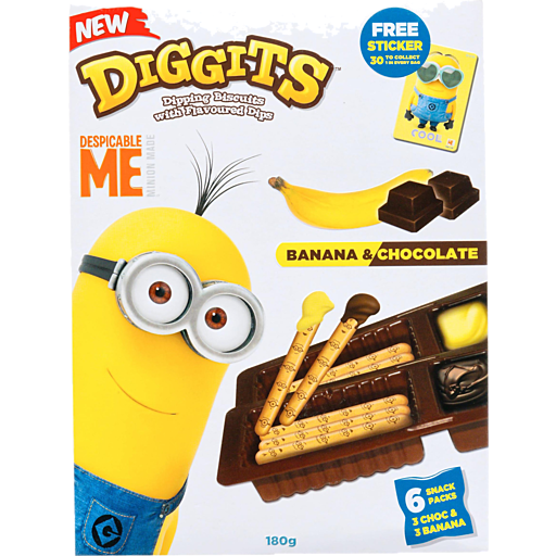 Despicable Me Diggits Dipping Biscuits With Flavoured Dip Banana