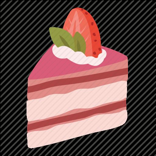 Cake, Dessert, Food, Pink, Slice, Strawberry, Sweet Icon