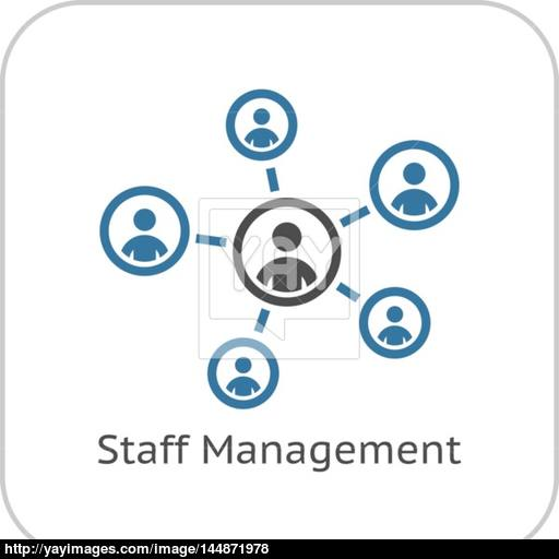 Staff Management Icon Business Concept Flat Design Vector