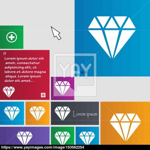 Diamond Icon Sign Buttons Modern Interface Website Buttons