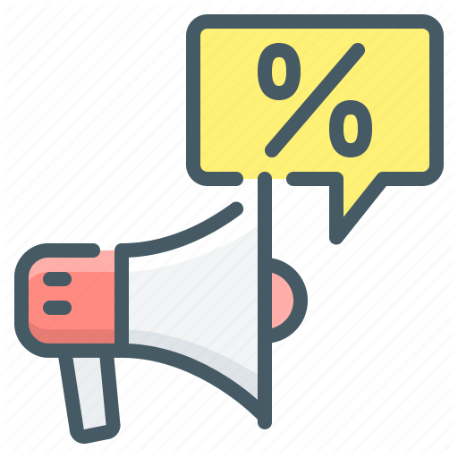 Advertising, Marketing, Mouthpiece, Percent, Promotion Icon