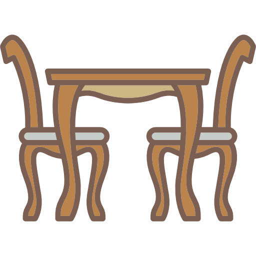 Antique, Chairs, Table, Dining Room, Elegant, Furniture Icon