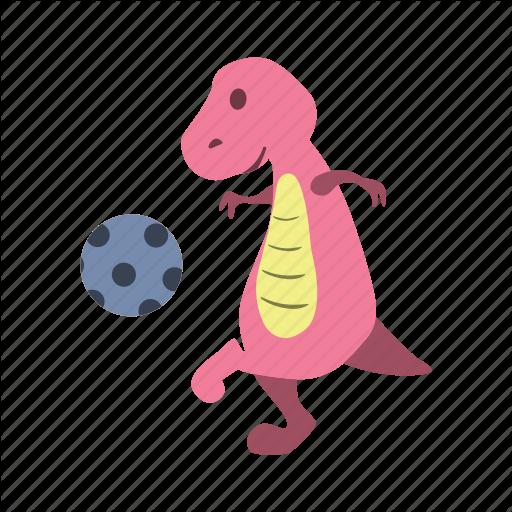 Ball, Blue, Cute, Dino, Dinosaur, Kick, Play Icon