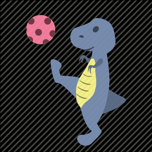 Ball, Cute, Dino, Dinosaur, Kick, Pink, Play Icon