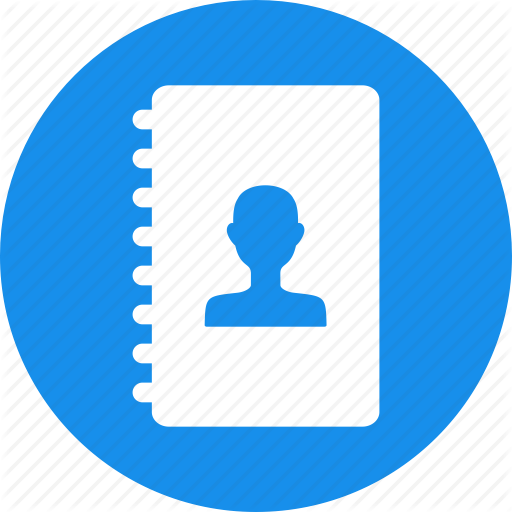 Address, Addressbook, Blue, Book, Circle, Contacts, Directory Icon