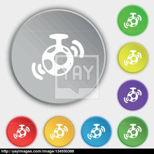 Mirror Ball Disco Icon Sign Symbol On Five Flat Buttons Vector
