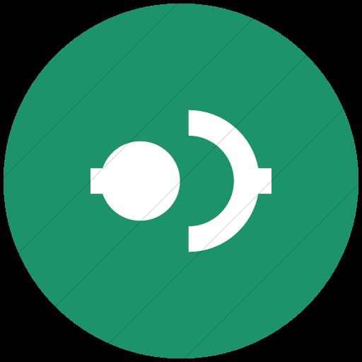 Flat Circle White On Aqua Raphael Disconnect Icon